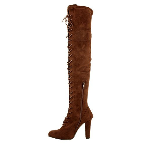 Guilty Shoes Sexy Pull up Stiletto Slouchy High Heel Over The Knee Thigh High Boots Boots Boots Brown Suede 5.5