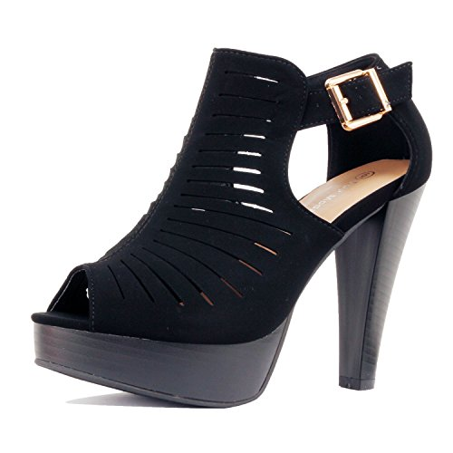 Womens Strappy Cut Out Gladiator Open Toe Platform High Heel Sandal Sandals Black Pu