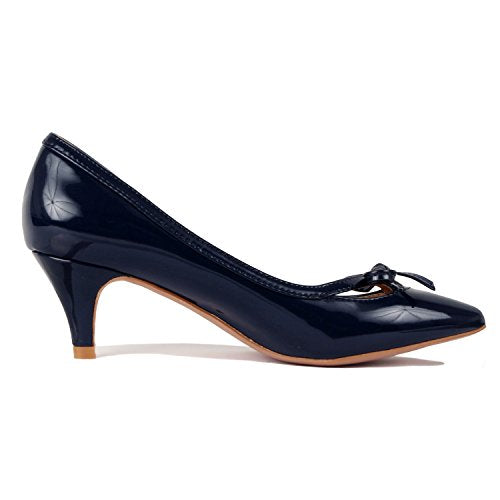 Guilty Shoes Womens Classic Pointy Toe Low Kitten Heel Office Dress Slip On Fashion Pump Navy Patent