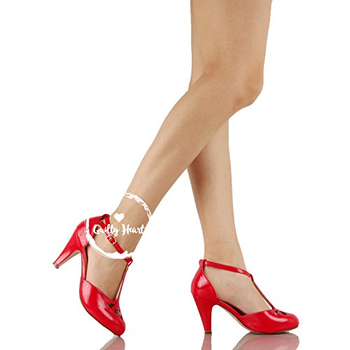 Guilty Heart Womens Vintage Retro Mary Jane Kitten Mid Heel Pump Pumps Red Pat