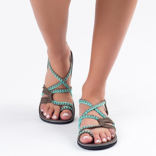 Plaka Flat Summer Sandals for Women by Turquoise Gray Palm Leaf