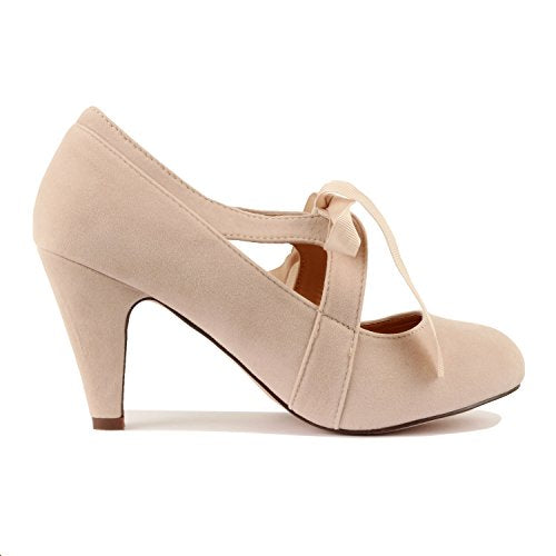 Guilty Heart Womens Vintage Retro Mary Jane Kitten Mid Heel Pump Pumps Pumps, Nude Suede