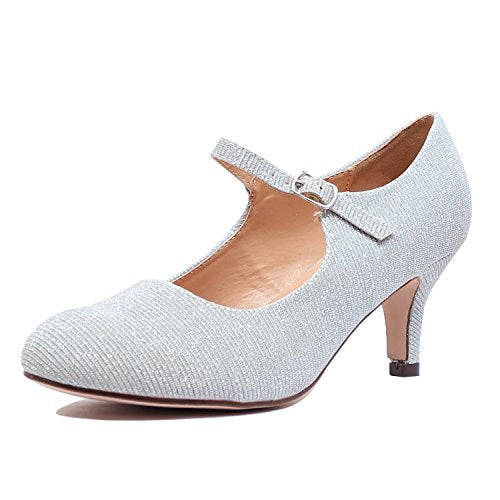 Guilty Heart Classic Mary Jane - Vintage Cute Low Kitten Heel - Round Closed Toe - Elegant Pumps-Shoes Pumps Pumps Silver Glitter