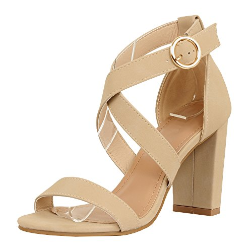 Guilty Heart Womens Sexy Versatile Strappy Platform Stiletto Block Heel Ankle Strap Sandal Heeled Sandals Beige Pu