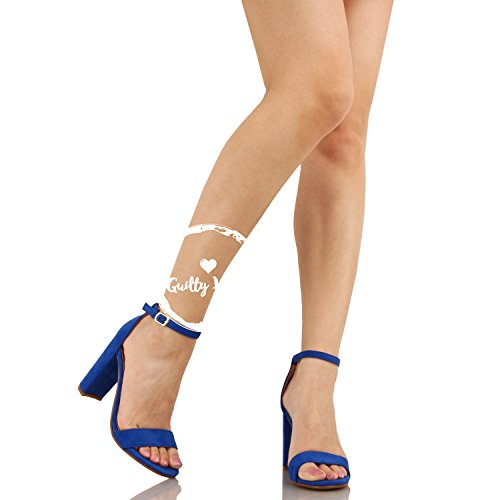 Guilty Shoes Womens Comfort High Heel Sandal - One Band Open Toe Ankle Strap Sexy Dress Chunky Block Heel - Stiletto Sandals Blue Suede