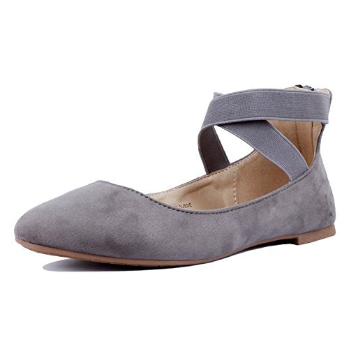 Guilty Shoes Women's Classic Ballerina Flats - Elastic Crossing Straps - Comfort Stretchy Ballet-Flats Grey Suede