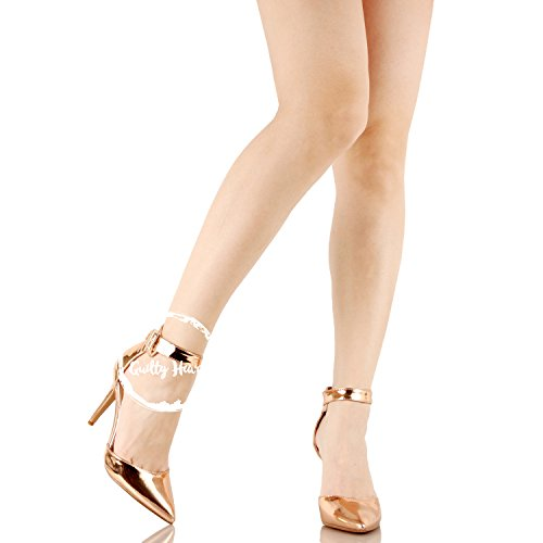Guilty Heart Womens Sexy Stiletto Pointed Toe Ankle Buckle Dress Dorsay High Heel Pumps Rose Gold Pu