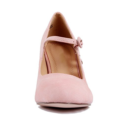 Guilty Heart Womens Retro Round Toe Ankle Strap Low Kitten Heel Mary Jane Dress Pumps Rose Pink Pu