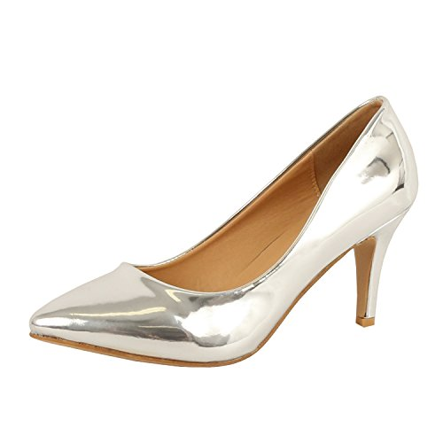 Guilty Shoes Womens - Embellished Classic Elegant - Closed Pointy Toe Low Kitten Heel - Dress Heeled Sandal Pump Silver Metallic Patent