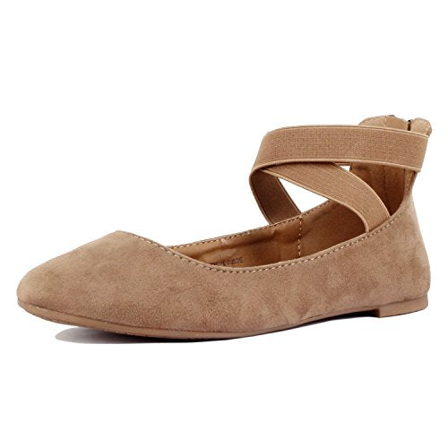 Guilty Shoes Women's Classic Ballerina Flats - Elastic Crossing Straps - Comfort Stretchy Ballet-Flats Taupe Suede