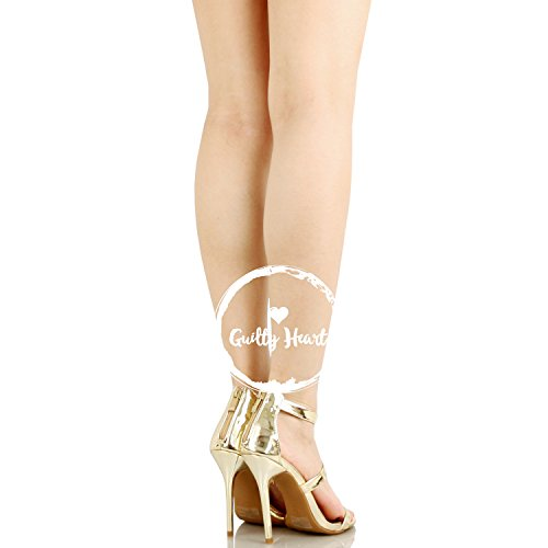 Guilty Shoes Women Sexy Metallic Ankle Strap Zip up Dress - Open Toe Stiletto Sandals Gold Pu