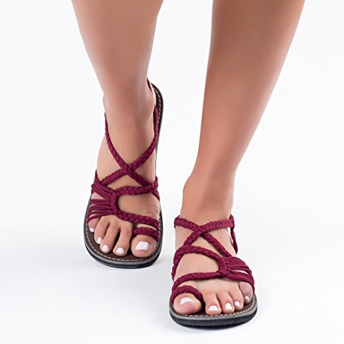 Plaka Flat Summer Sandals for Women by Sunset Sangria Palm Leaf
