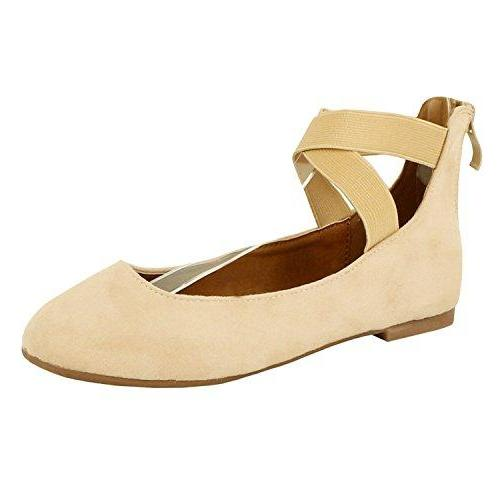 Guilty Shoes Women's Classic Ballerina Flats - Elastic Crossing Straps - Comfort Stretchy Ballet-Flats Flats Beige Suede