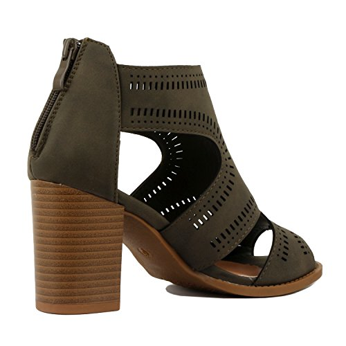 Guilty Shoes Womens Strappy Cut Out Gladiator - Open Toe Buckle Block Chunky Heel Comfortable Walking Sandals Olive Pu
