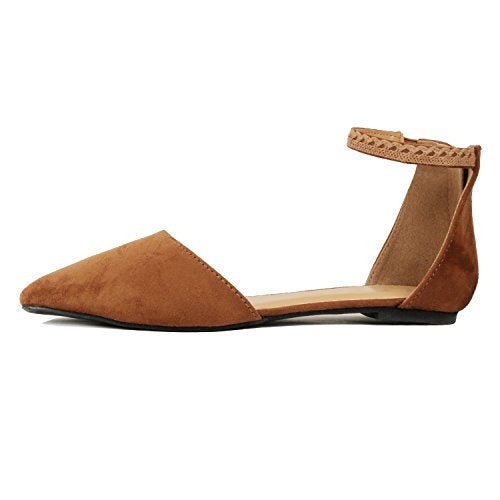 Guilty Heart Womens D'Orsay Ankle Strap Almond Pointed Toe Comfortable Suede Flats Flats Tan Suede