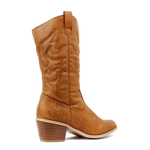 West Blvd Miami Cowboy Western Boots Tan Pu