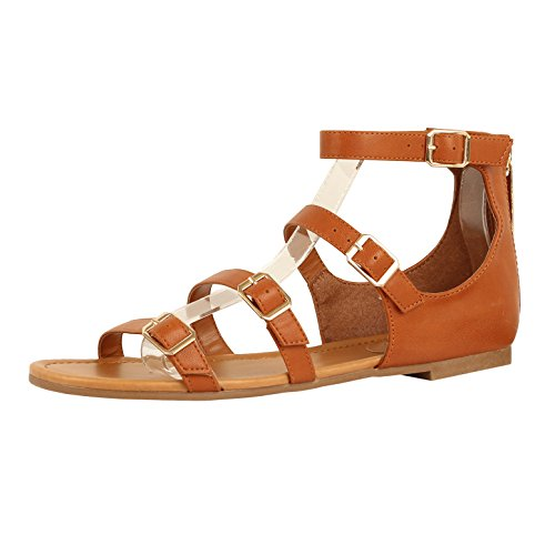 Guilty Heart Womens Sexy Versatile Strappy Platform Stiletto Block Heel Ankle Strap Sandal Sandals Tan PU