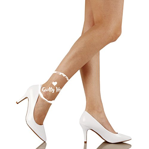 Guilty Shoes Womens - Embellished Classic Elegant - Closed Pointy Toe Low Kitten Heel - Dress Heeled Sandal Pump White Patent