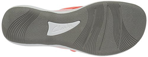 CLARKS Women's Breeze Sea Flip Flop New Coral Synthetic