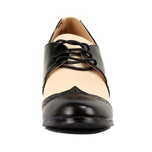 Guilty Shoes Retro Two Tone Embroidery - Wing Tip Lace up - Kitten Heel Classic Pump Oxfords-Shoes Black White