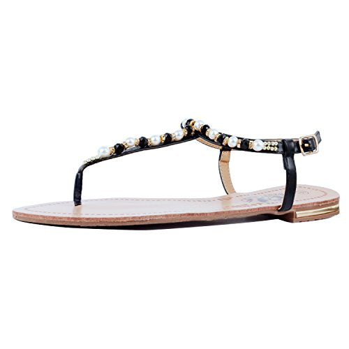 Guilty Heart Womens Summer Strappy Gladiator Bead Bohemian Flat Sandals Sandals Black