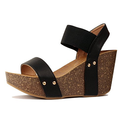 Guilty Heart Womens Cork Comfort Casual Wide Band Platform Wedge Sandal Platforms & Wedges Black Pu