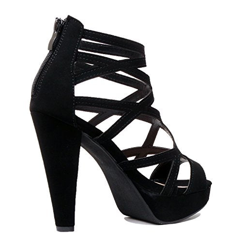 Guilty Shoes Womens Cutout Gladiator Ankle Strap Platform High Block Heel Stiletto Heeled Sandals Black Pu