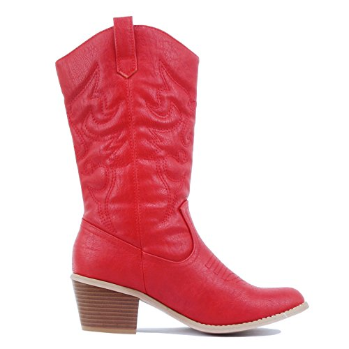 West Blvd Miami Cowboy Western Boots Boots Red Pu