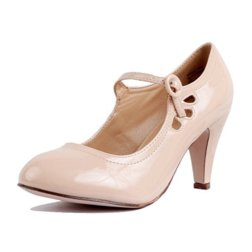 Guilty Heart Womens Retro Round Toe Ankle Strap Low Kitten Heel Mary Jane Dress Pumps Nude Patent