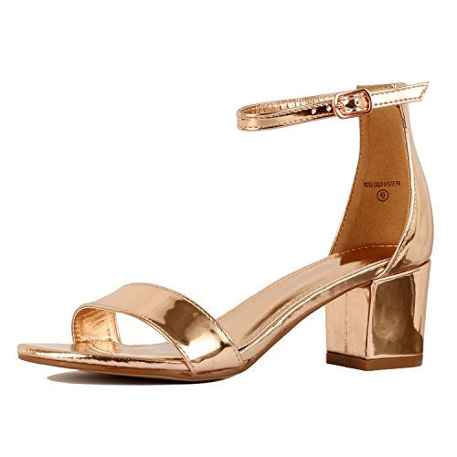 Guilty Shoes Womens Ankle Strap Single Band Sandals - Low Chunky Block Comfortable Office Heeled Sandals Rose Gold