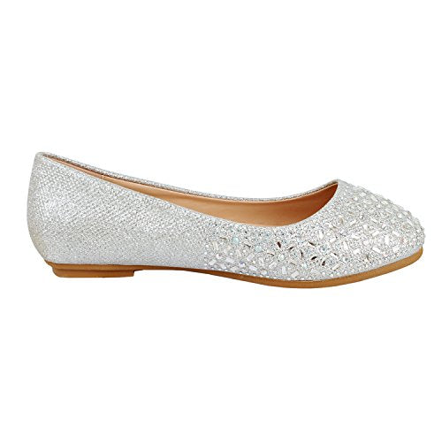 Guilty Heart Princess Classic Slip On Ballerina Ballet Flats Flats Silver Star