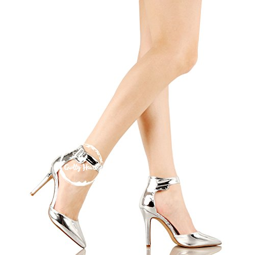 Guilty Heart Womens Sexy Stiletto Pointed Toe Ankle Buckle Dress Dorsay High Heel Pumps Silver Pu