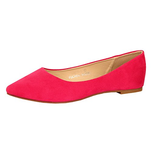 Guilty Shoes Womens Classic Pointy Toe Ballet Slip On - Casual Comfortable Flats Fuchsia Suede
