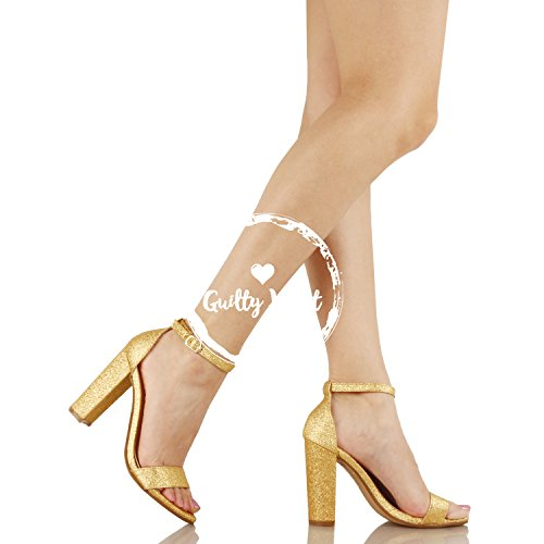 Guilty Shoes Womens Comfort High Heel Sandal - One Band Open Toe Ankle Strap Sexy Dress Chunky Block Heel - Stiletto Sandals Gold Glitter