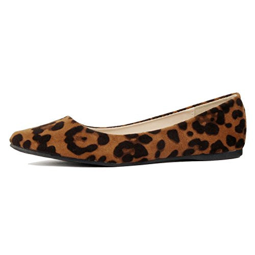 Guilty Shoes Women's Classic Pointy Toe Ballet Slip On Comfortable Flats Flats Leopard Suede