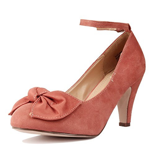Guilty Heart Womens Round Toe Retro Mary Jane T Strap Embroidery Kitten Mid Heel Pumps Mauve Bow