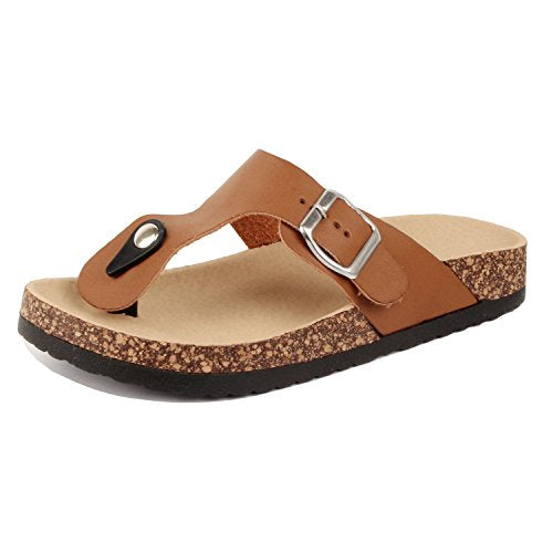 Guilty Heart Women's Casual Soft Eva T-Strap Walking Slides Sandal Sandals Brown Pu