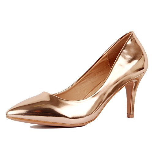 Guilty Shoes Womens - Embellished Classic Elegant - Closed Pointy Toe Low Kitten Heel - Dress Heeled Sandal Pump Rose Gold Metallic
