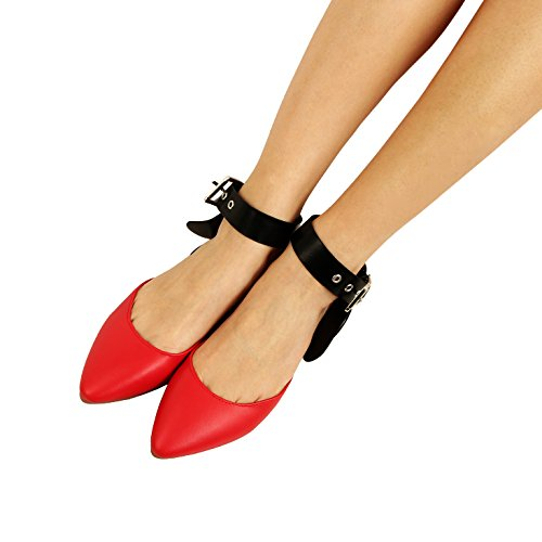 Guilty Heart Women Bow Knotted Flat Mule - Pointy Toe Slip On Slide Mules & Clogs Red Pu