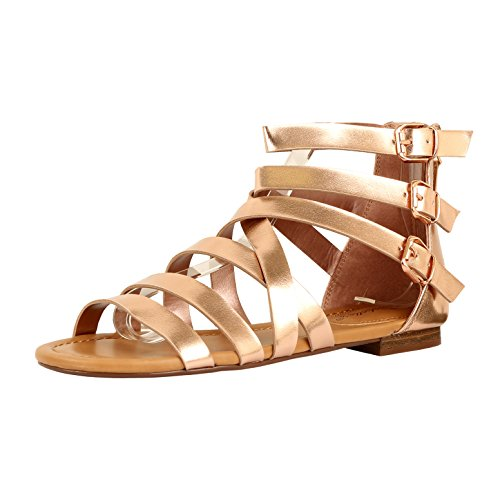 Guilty Heart Womens Sexy Versatile Strappy Platform Stiletto Block Heel Ankle Strap Sandal Sandals Rose Gold PU