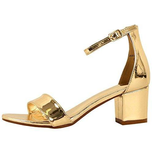 Guilty Shoes Womens Ankle Strap Single Band Sandals - Low Chunky Block Comfortable Office Heeled Sandals Gold Lucite