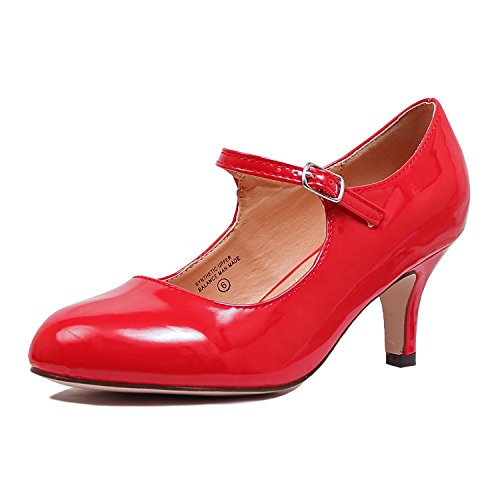 Guilty Heart Classic Mary Jane - Vintage Cute Low Kitten Heel - Round Closed Toe - Elegant Pumps-Shoes Pumps Pumps Red Patent