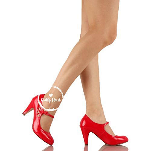 Guilty Heart Womens Retro Round Toe Ankle Strap Low Kitten Heel Mary Jane Dress Pumps Red Patent