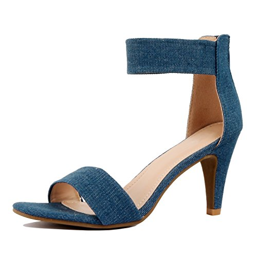 Guilty Shoes Womens Classic Comfort Sexy Open Toe Mid Heel Ankle Strap Dress Stiletto Heeled-Sandals Denim