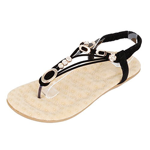 bad45cb05d16bd Guilty Heart Womens Summer Strappy Gladiator Bead Bohemian Flat Sandals  Sandals Black
