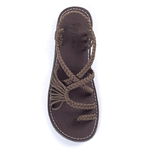 Plaka Flat Summer Sandals for Women by Taupe Palm Leaf