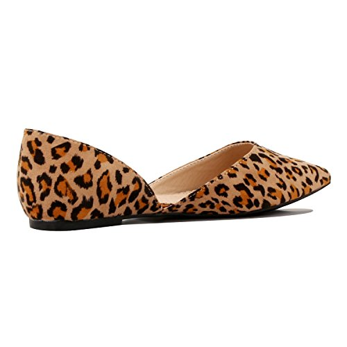Guilty Heart Women's D'Orsay Almond Pointed Toe Slip On Casual Flats Leopard Suede