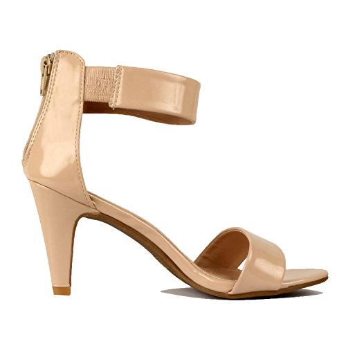 Guilty Shoes Womens Classic Comfort Sexy Open Toe Mid Heel Ankle Strap Dress Stiletto Heeled-Sandals Nude Patent