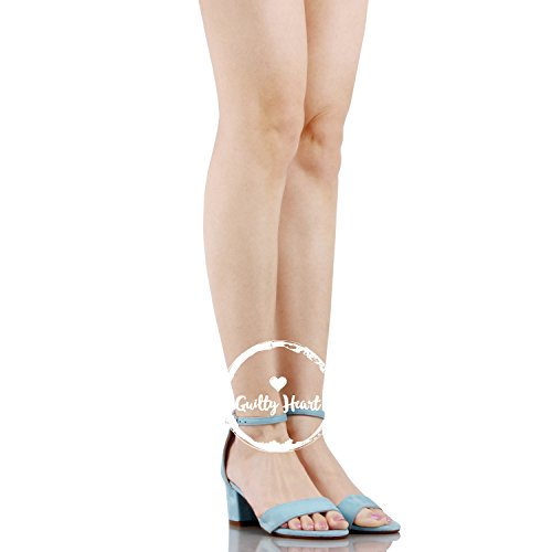 Guilty Shoes Womens Ankle Strap Single Band Sandals - Low Chunky Block Comfortable Office Heeled Sandals Light Blue Suede