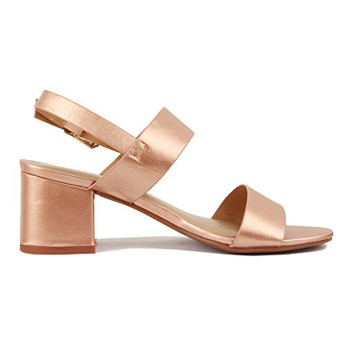 Guilty Heart Womens Block Chunky Ankle Strap Strappy Open Toe Sandals Rose Gold